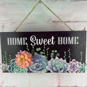 """Wall Plaque Succulent Design """"Home Sweet Home"""""""